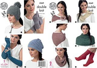 King Cole Baby Alpaca DK Knitting Pattern Womens Winter Accessories - Hats Scarf Shawl Gloves (4369)