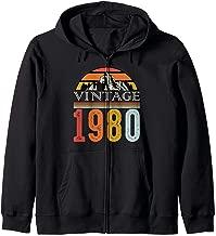 Vintage Retro 1980 Birthday Party Funny 39 Bday 80s 90s Zip Hoodie