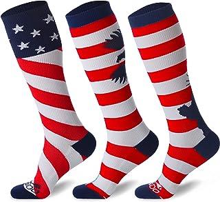 JUSDO 3 Pairs Kids Soccer Socks, American Flag Athletic...
