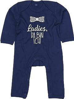 Kleckerliese Baby Strampler Schlafanzug Overall Sprüche Jungen Mädchen Motiv Ladies, da Bin ich