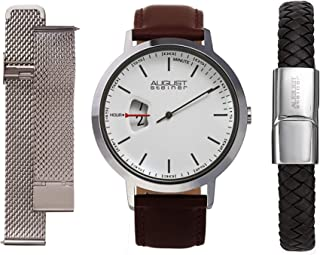 August Steiner Men's Interchangeable Watch Set - Leather Strap, Stainless Steel Mesh Band and Braided Leather Bracelet Capsi Pins for Easy Swap - AS8294