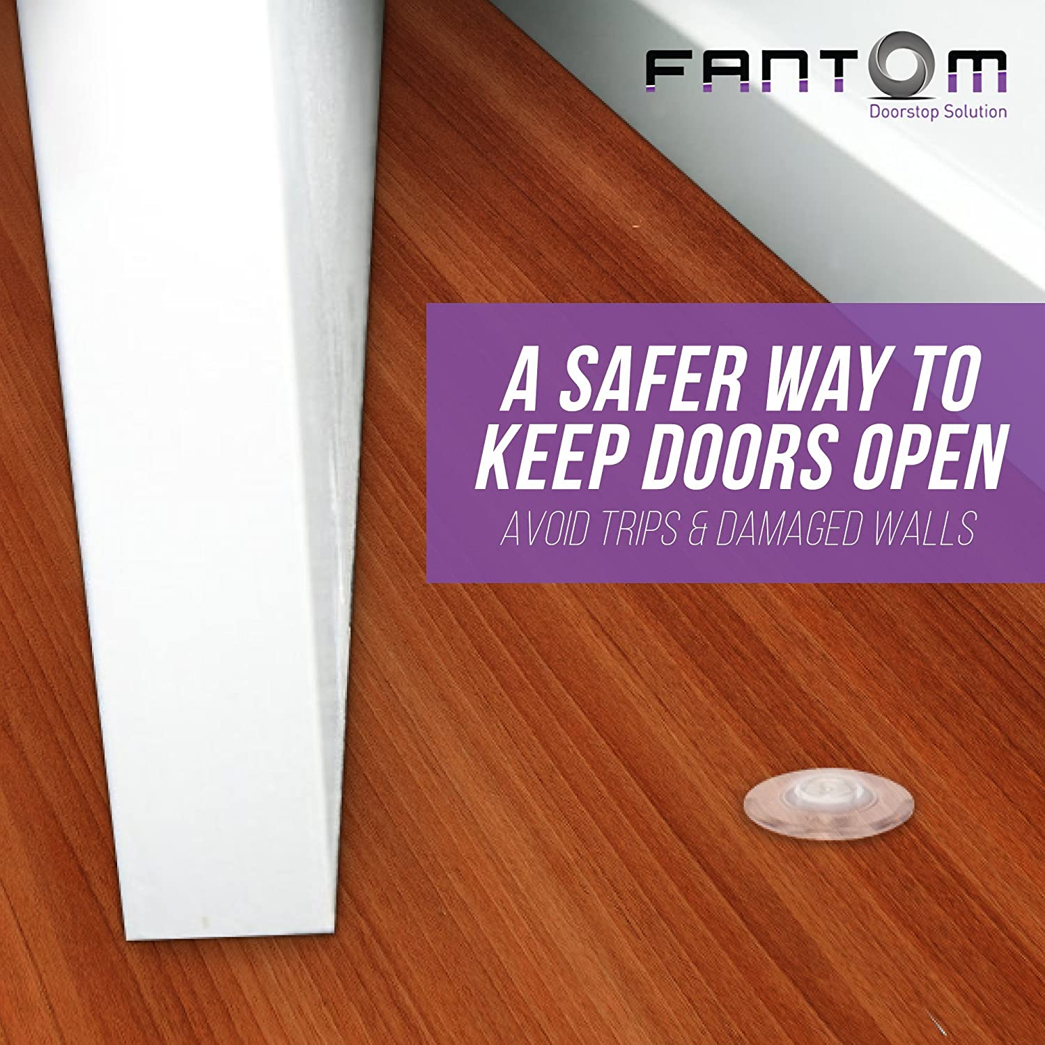 Fantom Magnetic Hidden Door Stop Easy to Install On Any Floor Surface or Door Safe and Elegant Design Black Sleeve Patented Concealed Stopper Does Not Protrude Out of Floor