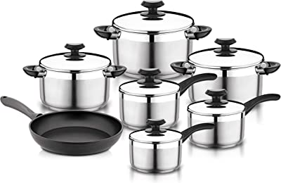 Ybmhome Stainless Steel 13 Piece Cookware Set, includes Saucepans Stockpots and Frying Pans, y1100