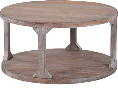 Round Rustic Coffee Table Solid Wood Industrial Coffee Table for Living Room with Storage Shelf
