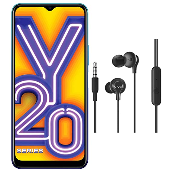 Vivo Y20i (Nebula Blue, 3GB RAM, 64GB Storage) with No Cost EMI/Additional Exchange Offers + vivo Color Wired Earphones with Mic and 3.5mm Jack (Black)