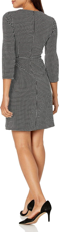 Lark & Ro Women's Standard Three Quarter Sleeve Faux Wrap Short Dress