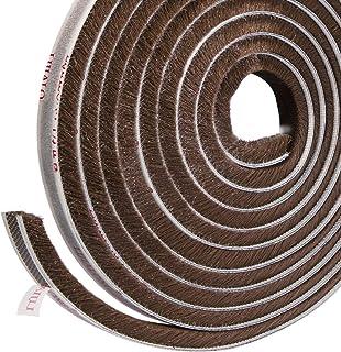 Sellado de cepillo autoadhesivo Burlete 4.9 m (L) x9 mm (W) x 9 mm (T) Tapón de aire de tiro Aire de alta densidad Excéntrico para puertas correderas Ventana y armario - Marrón