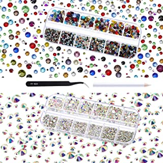 TecUnite 4000 Pieces Glass Flatback Gemstones Round Flat Back Rhinestones 6 Sizes 1.5 mm-6 mm in Box with Tweezer and Rhinestones Picking Pen for Nail Face Art (Crystal AB and Multicolor)