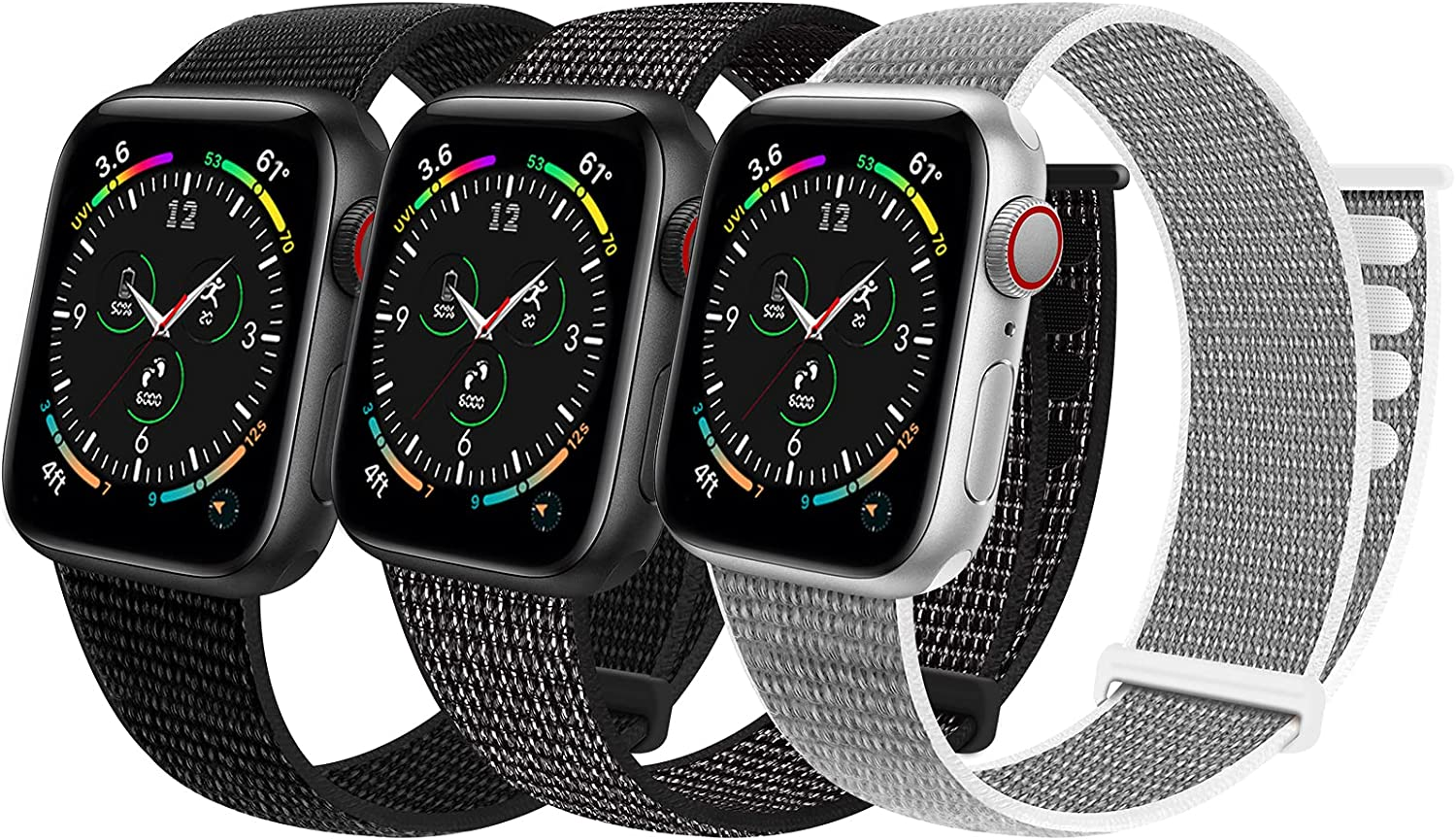Geoumy 3 Pack Sport Velcro Nylon Bands Compatible with Apple Watch 44mm 40mm 41mm 42mm 38mm 45mm, Stretchy Loop Woven Braided Soft Women Men Strap Compatible for iWatch Series 7 6 5 4 3 2 1 SE