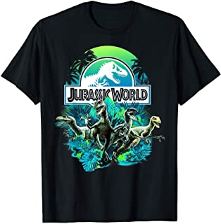 Jurassic World Blue Green Jungle Velociraptor Attack T-Shirt