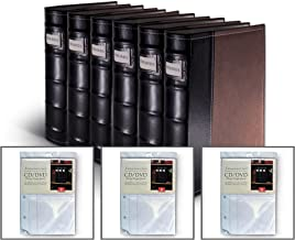 Bellagio-Italia Brown DVD Storage Binder Set - Stores Up to 384 DVDs, CDs, or Blu-Rays - Stores DVD Cover Art - Acid-Free Sheets