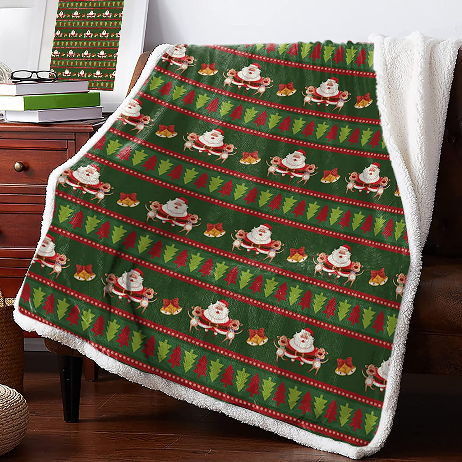 MuswannaA Sherpa Reservation Fleece Throw Blanket Supe Merry Christmas specialty shop Theme