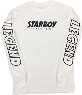 Starboy World Tour With Legend On The Sleeves Retro Design White Long Sleeve Shirt With Black Print