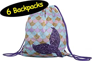 Mermaid Party Favor Drawstring Backpacks Goodie Bags, 6-Pack, 12x14 inches