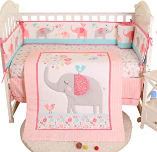 Brandream Crib Bedding Sets for Girls with Bumpers Pads Butterfly Birds Floral Elephant Baby Nursery Bedding Sets,7 Pieces