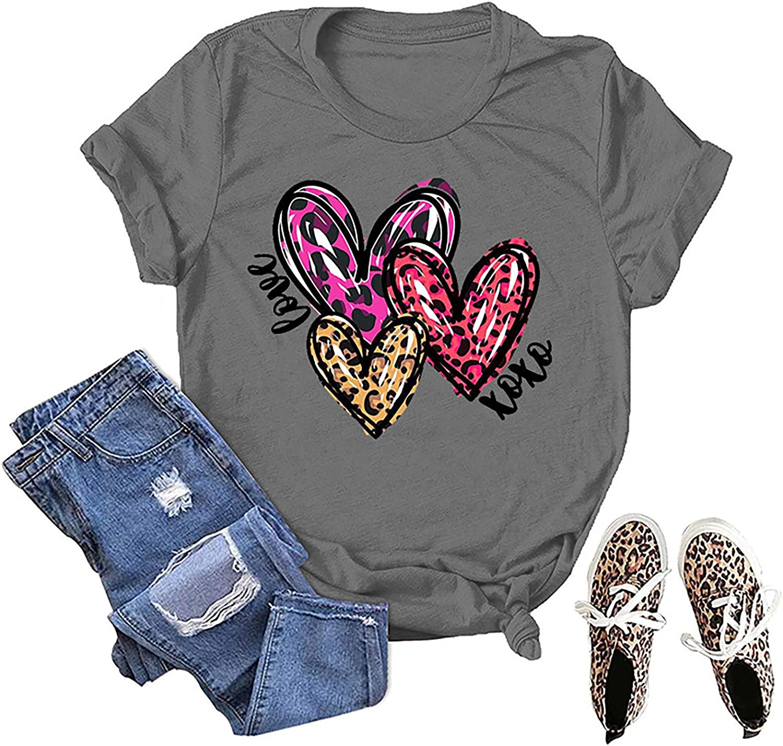 LONEA Women's Valentine T-Shirts Leopard Heart Graphic Short Sleeve Tee Shirts for Women