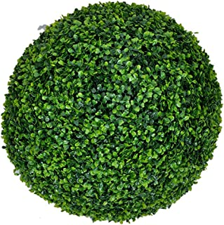 HappyD Artificial Ball Shaped Boxwood Topiary,Perfect for Both Outdoor or Indoor, Home Décor,Decorative Artificial Milan Boxwood Ball, Weddings and other Special Events 19inch (1 piece)