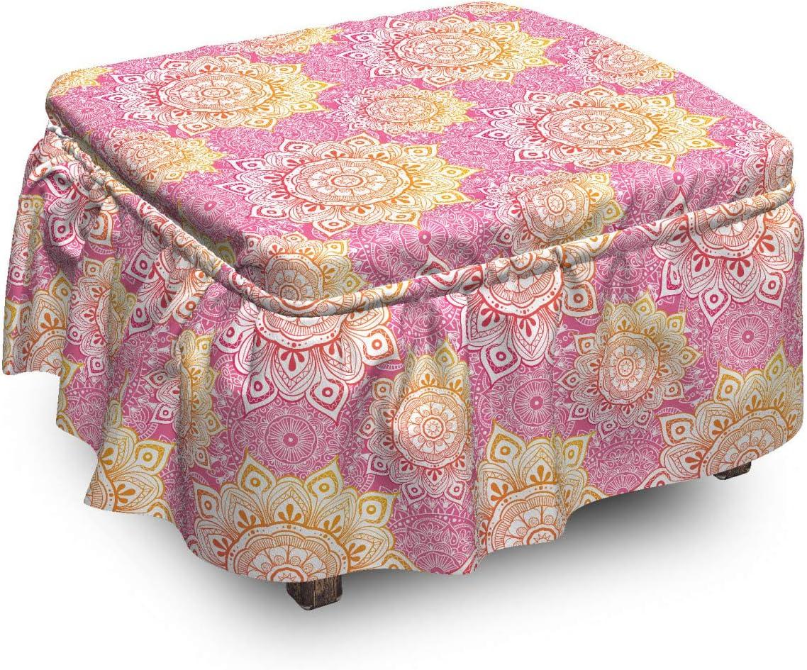 Lunarable Mandala Ottoman Cover Low price Trust Oriental 2 Sl Floral Art Piece