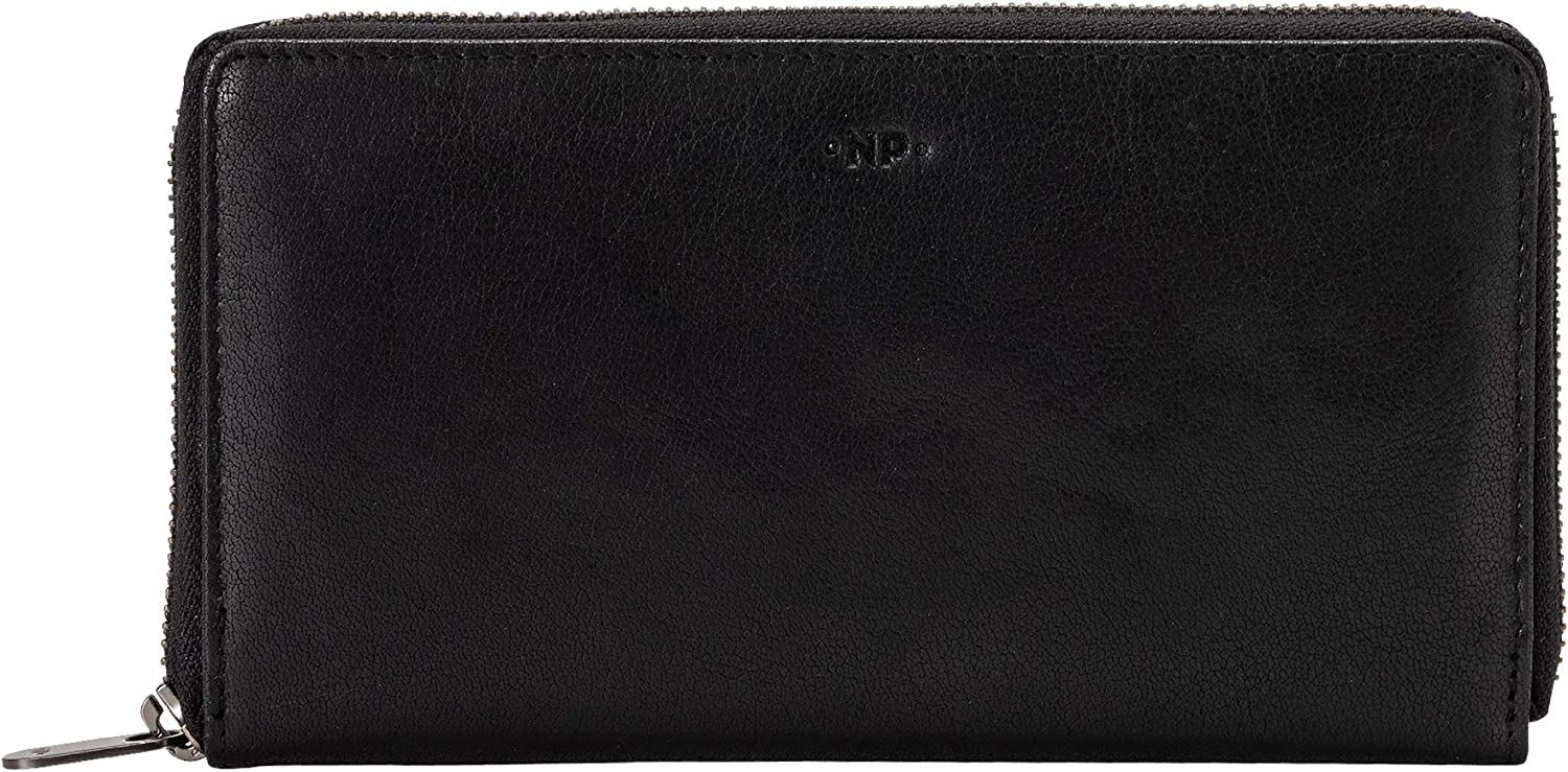 Nuvola Pelle Large Womens Zipped Purse in Buffalo Leather Multi Compartment Zip Around Wallet Black