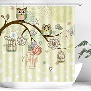 Stacy Fay Owl Shower Curtain Set with 12 Hooks, Funny Owl Shower Curtains for Bathroom, Waterproof Fabric Shower Curtains, Decorative Bathroom Curtain Set for Kids, Yellow Cute Cartoon owl, 72x72''