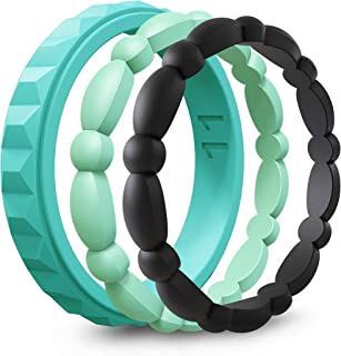 ASTERY Premium Silicone Wedding Ring for Women,Durable Stackable Thin Rubber Wedding Bands,3 Mix Style Pack 100% Guarantee