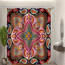 AiiHome Boho Shower Curtain, Bohemian Mandala Hippie Shower Curtain with Mandala Flower Pattern, Print Shower Curtain for Bathroom with 12 Hooks, Red Black, 54 X 72 Inch