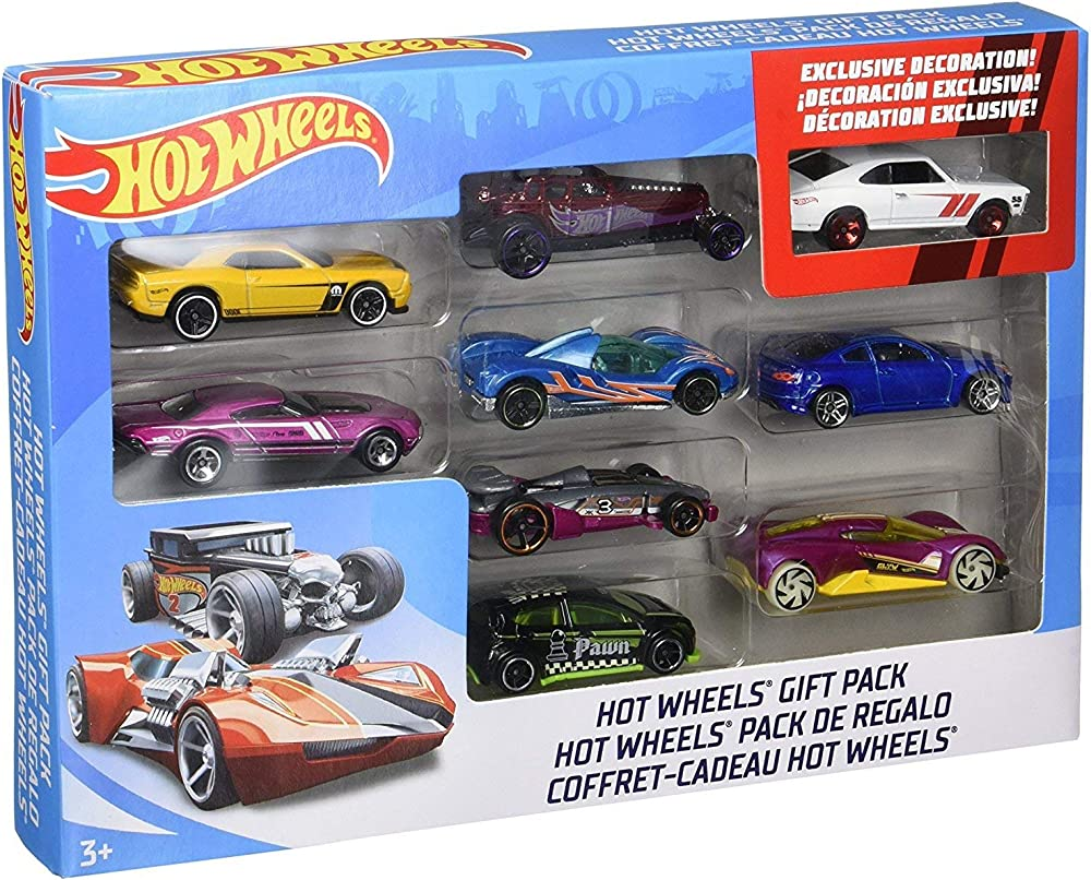 Mattel,hot wheels veicoli pack 9 pz,set di macchinine. X6999