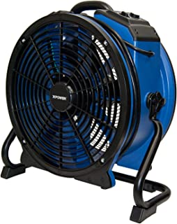 XPOWER X-48ATR Professional Heat Resistant Industrial Axial Fan - Sealed Motor with Built-in Power Outlets, Timer, and Variable Speed Control - No Heat- Blue