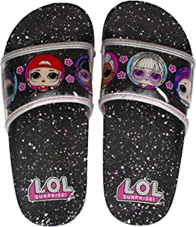 L.O.L. Surprise! Girl's Sandal, Slide Sandal Featuring MC Swag Bling Queen and More, Girls Size 8-9 to 1-2, Ages 3 and up
