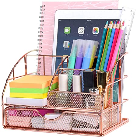POPRUN Rose gold desk tidy, Desk organiser metal mesh Stationery Storage with pen holder and drawer for office, school and classroom
