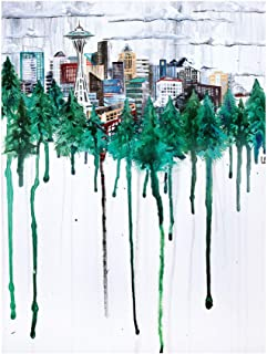 Seattle, Washington Skyline Through Trees Travel Art Print Poster by Ursula Barton (9