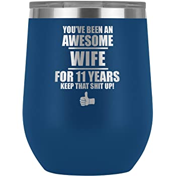 11th Anniversary For Wife Wine Tumbler Glass Travel Cup Gifts 11 Year Wedding Women Eleven Her O-29C (Blue)