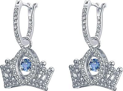 EVER FAITH Orecchini Donna Zirconia cubica Principessa reale Corona Orecchini Goccia Lampadario pendente