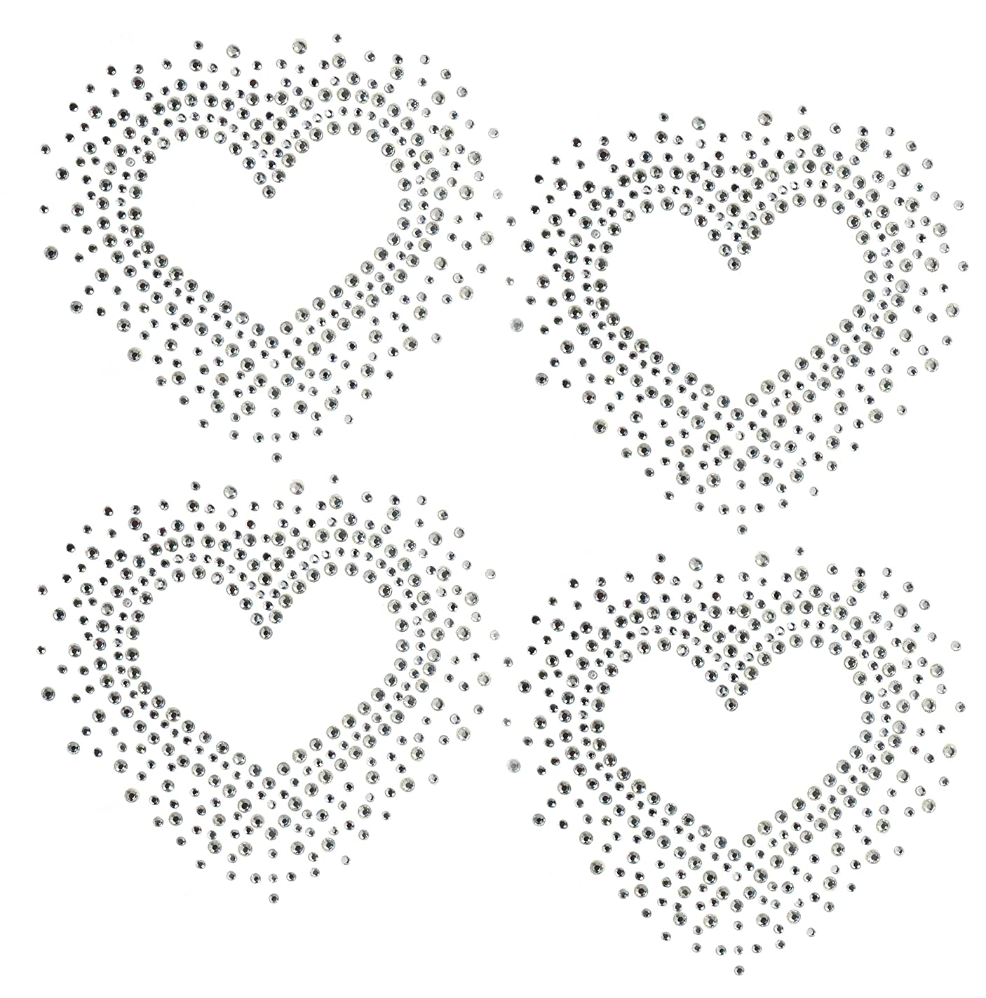 Set of 4 Heart Love Valentine's Day Hotfix Clear Rhinestone Iron On Design Transfer Bling - Each Heart 3.5