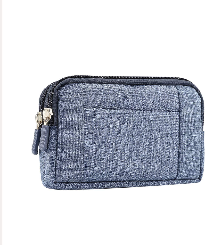 Denim Double Decker Zip Dual Wallet Case Belt Clip Loop Holster Pouch for Samsung Galaxy S20+ / S20 Ultra/LG V60 ThinQ/Stylo 5 X/Google Pixel 4 XL/Xiaomi Mi 10 / Moto G Power (Blue)