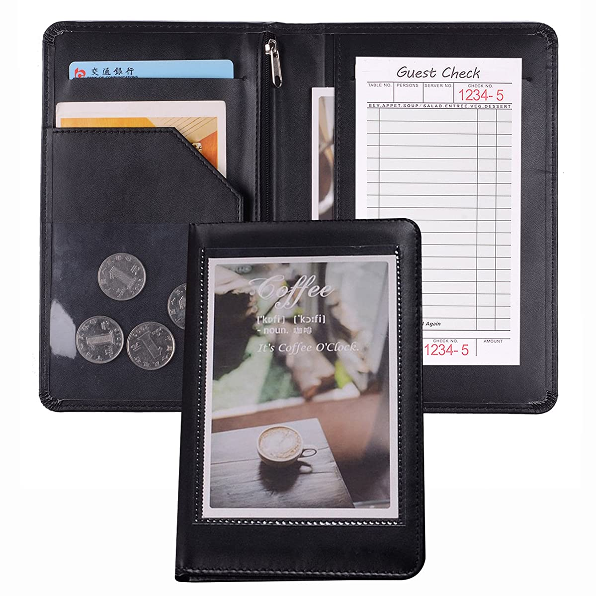 Black Faux Leather Waiter or Waitress Serving Book Organizer Wallet, Restaurant Receipt or Money Check Holde (Black/8