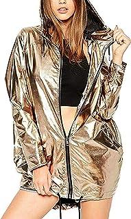 Womens Hooded Raincoat Windbreaker Waterproof Basic Metallic Coat Jacket