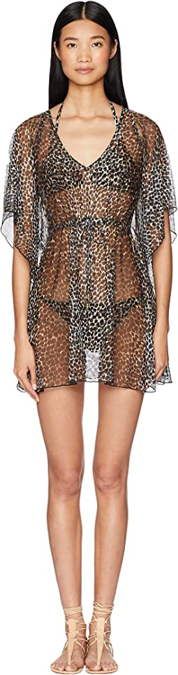Leopard Print Mesh Dress Cover-Up