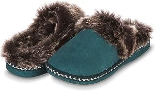 Womens Indoor Outdoor Aztec Two Tone Fur Lined Clog Slipper W/Memory Foam