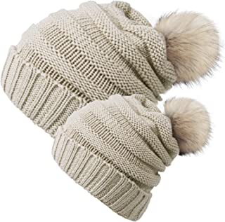 Chalier 2 Pack Parent-Child Hat Winter Warm Knit Baggy Slouchy Pom Pom Beanie Hat for Mom & Baby