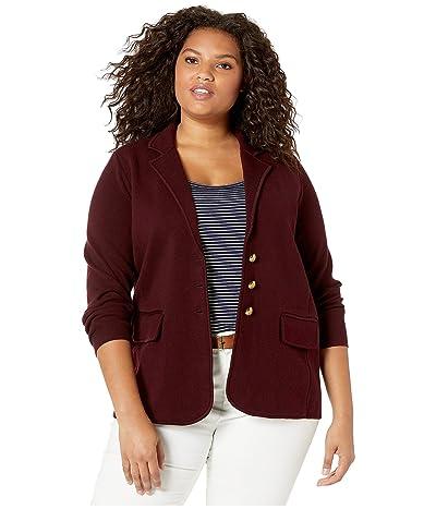 LAUREN Ralph Lauren Plus Size Sweater Knit Blazer (Pinot Noir) Women