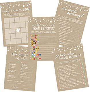 Kraft Baby Shower Game Set, Contains 5 Games, 50 Sheets Each, Fun Baby Shower Games and Activities, Includes Baby Prediction and Advice, Emoji, Bingo, Who Knows Mommy, and Guess Who Games