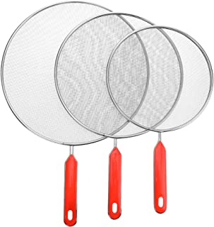 Grease Splatter Screens Guards Shields Frying Pan Pot Cooking Oil Cover Skillet Lid - Stainless Steel Mesh Red Handle Set ...