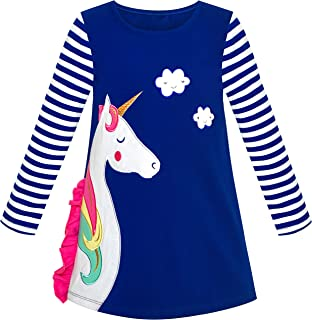 Sunny Fashion Girls Dress Long Sleeve Christmas Snowman Holiday Party Size 5-12 Years