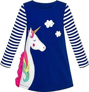 Sunny Fashion Vestido para niña Algodón Manga Larga Unicornio Bordado Gris 2-6 años