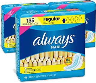 Sponsored Ad - Always Maxi Feminine Pads with Wings for Women, Size 1, Regular Absorbency, FSA HSA Eligible, Unscented, 45...