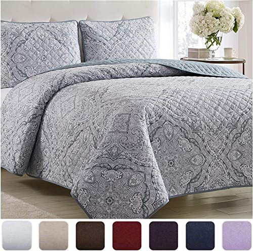 Mellanni Bedspread Coverlet Set Medallion-Zen - Comforter Bedding Cover - Oversized 3-Piece Quilt Set (King/Cal King,...