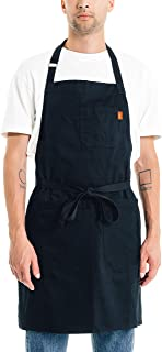 Caldo Cotton Kitchen Apron - Mens and Womens Professional Chef Bib Apron - Adjustable Straps with Pockets and Towel Loop (Black)