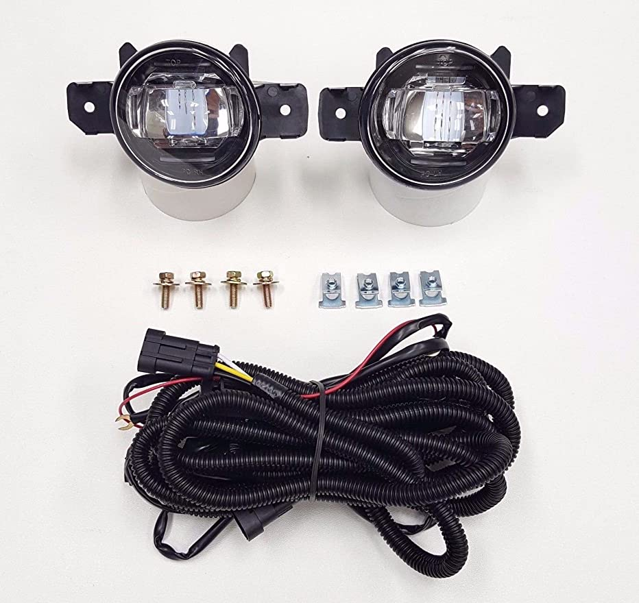 LEDIN Fit For 2004-2016 Nissan Sentra Infiniti G37 Front Bumper Clear Fog Light Kit LED DRL
