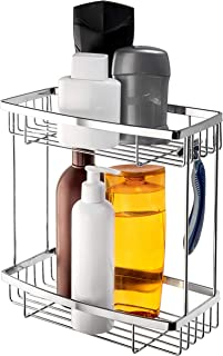 HASKO accessories Bathroom Shower Caddy - NO Drilling Wall Mounted Bathroom Shelf - 2 Tiers Shower Basket - Shower Shelf for Bathroom & Kitchen - Shower Organizer (Polished Stainless Steel SS304)